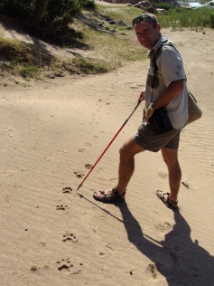 Trev with leopard tracks