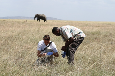 Michael and Norbert collecting dung samples
